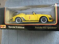 MAISTO YELLOW PORSCHE 911 SPEEDSTER 1989  1:18 Scale  MINT in Box Die Cast