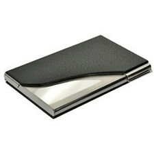 New Black PU Leather&Stainless Steel Business Name Card Case Holder