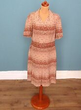 Vintage 80's / 90's Geometric / Floral Print Midi Dress Retro Boho 16