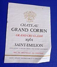 1961 Chateau Grand Corbin Grand Cru Classe Saint-Emilion Wine Label RARE