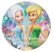 Tinkerbell And Periwinkle Cake Topper Personalised Edible Wafer Paper 7.5""