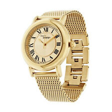 Steel By Design Goldtone-Plated Stainless Steel Round Case Mesh Strap Watch 7""