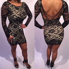 Connie's Long Sleeve low cut back & bead detail Stretch Beige Lace Mini Dress  S