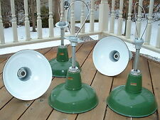 "(1)  VTG Goodrich 12"" Porcelain Pendant Industrial Green Enamel Barn Lamp Light"