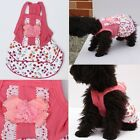NEW Pet Dog Puppy Lace Pearl Flower Skirt Dress Crystal Bowknot Princess Clothes
