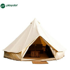 4M Beige Bell Tent Waterproof Cotton Canvas Family Camping Outdoor Beach