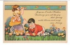 Vintage Easter Card Children and Chicks 1920s Unused Made in the USA