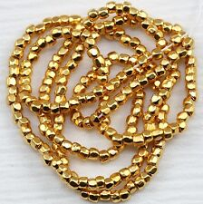 RARE!!! 12/0 3CUT 24KT GOLD PLATED CZECH SEED BEADS - 1 STRAND - 14""