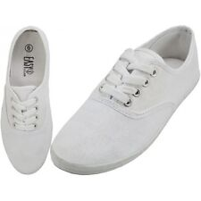 LADYS CANVAS LACE UP SHOES size 9 WOMENS NEW WHITE