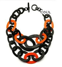 ONA Handmade LAGENLOOK Water Buffalo HORN Large Chain NECKLACE Q12446 BLK/ORANGE