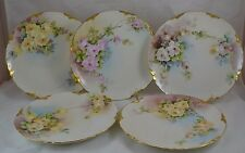 Set of 5 Ranson Plates Hand Painted Signed 1903 Signed G. Rice Roses Gold Trim
