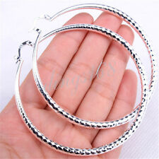 925 Sterling Silver Sublime Diamond-Cut Round 73mm Very Large Hoop Earrings H795