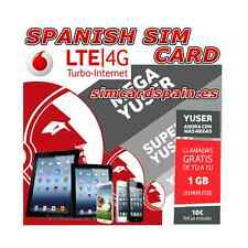 VODAFONE YUSER 4G LTE SPANISH PREPAID PAYG SIM CARD 1 GB INTERNET SPAIN SMART