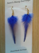Natural Rooster Feather Earrings 13 Colours Gold, Silver & 925 Silver Hand Made