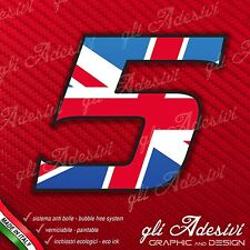 Adesivo Stickers NUMERO 5 moto auto cross gara UK United Kingdom Union Jack 5 cm