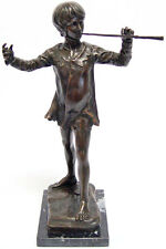 STATUE EN BRONZE 33cm SCULPTURE PETER PAN AVEC FLUTE SCULPTURE FIGURINE