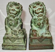 "Antique ? Pair of Chinese Bronze Foo Dogs or Shi Shi Temple Lions  (4.85"")"