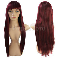 Fashion Sexy Women Girls Wine Red Long Straight Hair Cosplay Costume Wig Hot