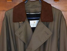 Trench Coat Bill Blass 42S Mens Grn Rain Overcoat Wool Zip Liner Dbl Breast 5T17