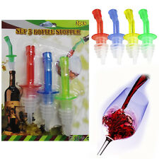4 Liquor Bottle Pourers Plastic For Wine Spirits Oil Pour Dispenser Aid & Cap