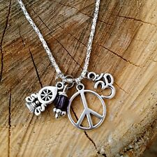 Ohm Good Karma OM Dharma Wheel Peace Amethyst Crystal Necklace Silver