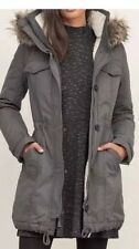 NEW Woman's XL Abercrombie & Fitch Sherpa Lined Military Grey Parka Hooded Coat