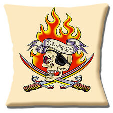 """'SAILOR JERRY' TATTOO ARTIST 'DO OR DIE' SKULL SWORDS 16"""" Pillow Cushion Cover"""