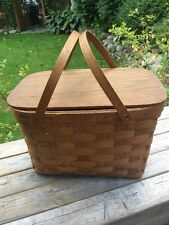 VINTAGE Antique GoRgEoUs! WOVEN WICKER WOOD PICNIC BASKET w/hinged Lid EVC