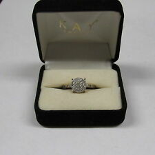 DBJ .925 CHINA .25 CTS PAVE SET  REAL DIAMONDS ENGAGEMENT RING SIZE 7