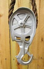 WOOD SHEAVE & CAST IRON SLING PULLEY FOR HAY CARRIER-TROLLEY~BARN LOADERS