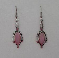 VICTORIAN STYLE pink NAVETTE GLASS DARK SILVER PLATED DROP EARRINGS HOOK