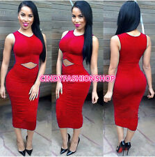 New Women  Sleeveless Dew Waist  Sexy Club Bandage Bodycon Party Prom Dress