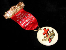 KENTUCKY CONCLAVE Old Masonic KNIGHTS TEMPLAR COLOR ART BADGE 1910 Winchester KY