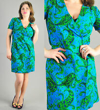 VTG 60s 70s colorfull mini shift gogo wrap around day scooter dress S M