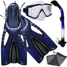 Store Display Blue-S/M-Panoramic Purge Dive Mask Dry Snorkel Fins Gear Bag Set