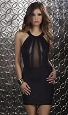 Halter Dress Mesh Inserts Bodycon Cosmopolitan New Year's Eve 883909 Large