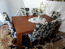 Contemporary Large Walnut Chunky Dining Table With 6 Fabric Designer Chairs