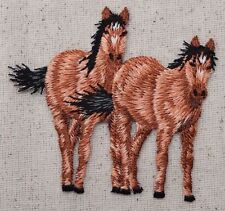 Iron On Embroidered Applique Patch Natural Two Bay Horses Equestrian Horse