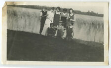ANTIQUE OUTDOOR FAMILY PHOTO GROUP OF 8 BY LARGE WATERFALL/VINTAGE BATHING SUITS