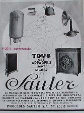 PUBLICITE SAUTER APPAREIL FER VENTILATEUR RADIATEUR CHAUFFAGE DE 1928 FRENCH AD