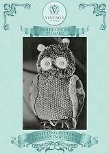Vintage 1940s wartime knitting pattern-cute little owl toy to make-uk freepost