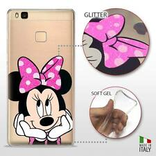 Huawei P9 Lite COVER PROTETTIVA GEL TRASPARENTE GLITTER DISNEY MINNIE MOUSE FLUO
