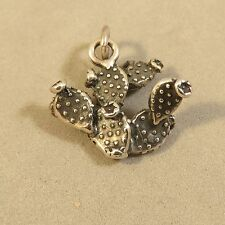 .925 Sterling Silver 3-D PRICKLY PEAR CACTUS CHARM Pendant NEW Desert 925 GA85