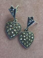 "SIGNED ""A"" STERLING SILVER & MARCASITE DANGLE HEART PIERCED EARRINGS"