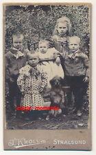 CDV: Kleine Geschwister & süßer Hund im Garten; Stralsund, um 1905