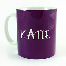 PURPLE PERSONALISED WITH ANY NAME GIFT MUG CUP PRESENT LOVER COLOUR WEAR PLUM