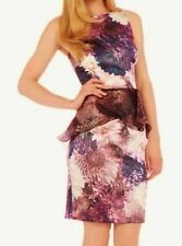 COAST CARISSA PURPLE IVORY SILKY SATIN ORGANZA PEPLUM WIGGLE DRESS 16 NWOT £220