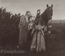 c.1900/72 Photo Gravure NATIVE AMERICAN INDIAN Cayuse Woman Horse ~ CURTIS 11x14