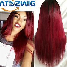 ATOZWIG 1b/red 8A Grade Burgundy Red Ombre Lace Front Wig With Baby Hair Silk...