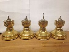 Lot of 4 vintage HOLLOWICK lamp base metal fuel oil light - free shipping !
